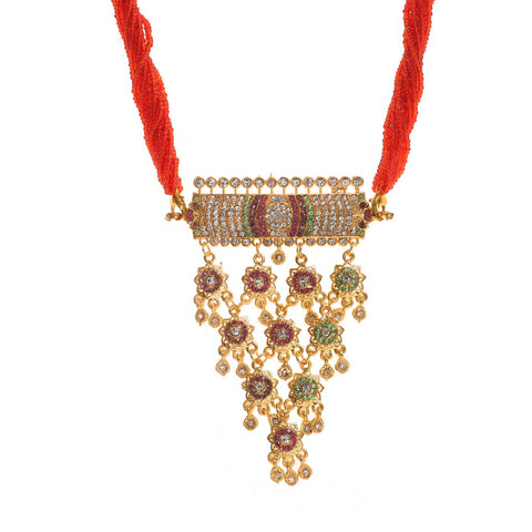 Designer Red Color Rajputi Aad Emblessed With AD