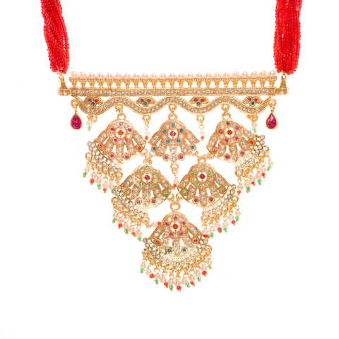 Beautifully Red Color Rajasthani Aad with Sitting Stones