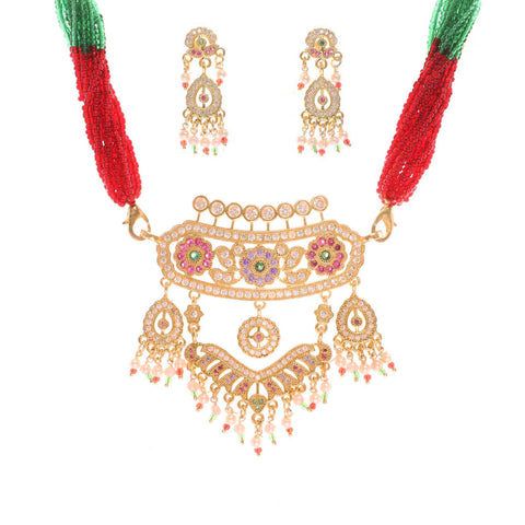 Rajwadi Gold Plated Rajasthani Aad with Red and Green Cheeds