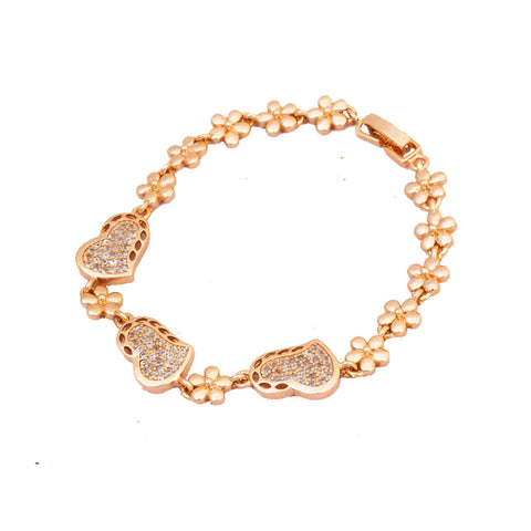 Rose Gold Heart Shape With Flower Bracelet