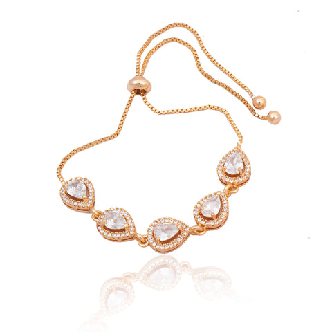 Rose Gold Kundan Shape AD Work Bracelet