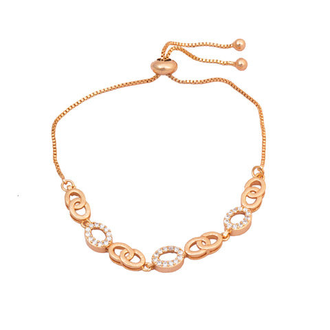 Rose Gold American Diamond Work Oval Shape Bracelet