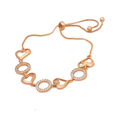 Rose Gold American Diamond Work Heart Shape Bracelet