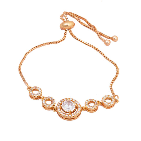 Rose Gold  American Diamond  Round Shape Bracelet