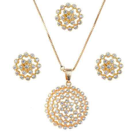 Dazzling design Rose Gold plating Combo set studdedwith white stones