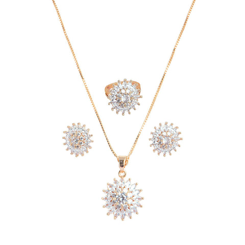 Sunflower shape Rose Gold plated Combo set studded with CZ