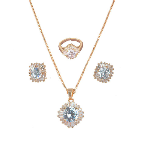 Charming CZ studded Rose Gold Plated Combo set