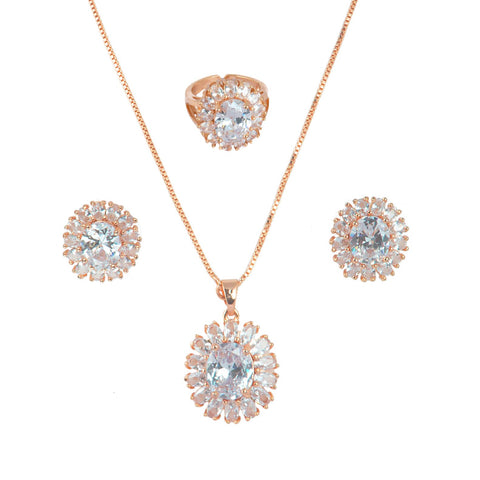 Lavish Rose Gold Plating Combo set studded with CZ