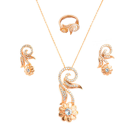 Latest Designer Rose Gold Plating CZ Studded Combo set
