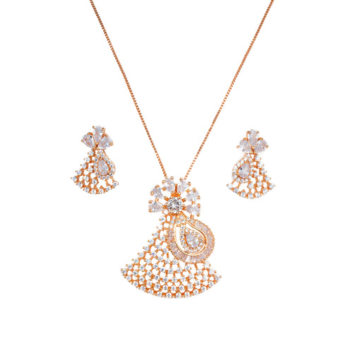 Rose Gold Neckpiece Enamelled with American Diamond and CZ Diamonds
