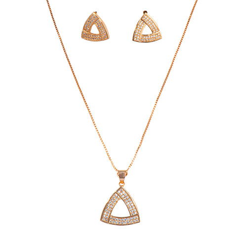 Rose Gold American Diamond Fashionable Triangle Shape  Neckpiece