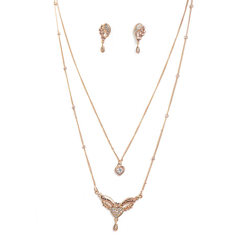 Rose Gold-Toned Two-Layered Chain Necklace
