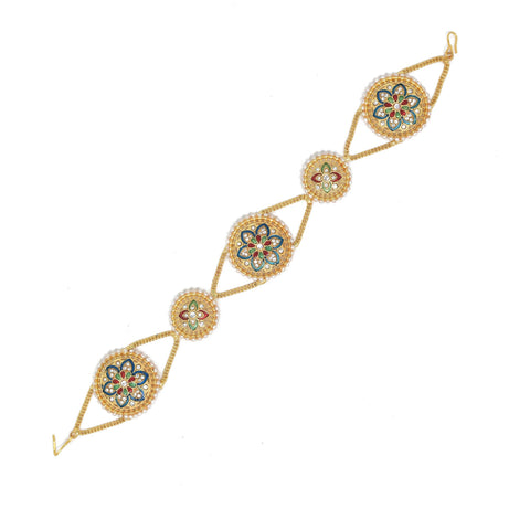 Ethnic Mathapatti Sheeshful White Pearl and Kundan Work for women