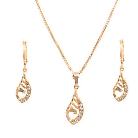 Rose Gold American Diamond Fancy Chain Pendant Neckpiece