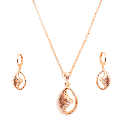 Rose Gold American Diamond Latest Oval Shape Designer Neckpiece