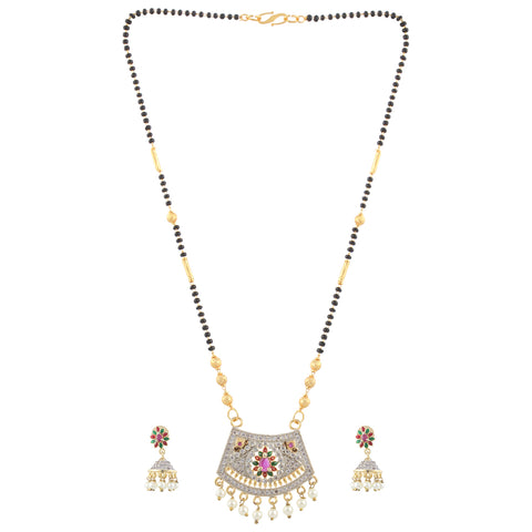 Gold Plated Pink, Red, Green Stoned Mangalsutra with Gold  and Black beads