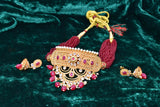 Indian Jewellery from Meira Jewellery:Rajasthani Jewellery,Gold Plated Moon Shape Rajputi Aad with Maroon Beads and Pearls