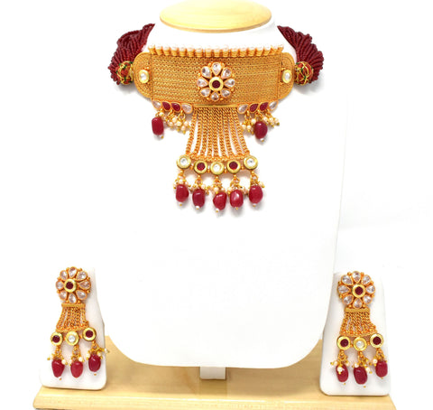 Designer Premium Quality Gold Plated Rajasthani  Multy String Maroon Choker