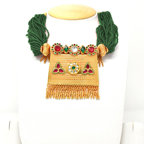 Designer Gold Plated  Kundan Work  Green Rajputi Timaniya