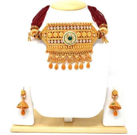 Gold Plated Green Timaniya set Exclusively for Rajputi Ladies.