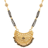 Traditional Gold Plated Black Bead Chain Imitation Mangalsutra Jewellery For Women