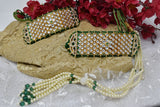 Fashionable Rajputi  Green Gold Plated Bajuband beaded with White Kundan and Moti Mala Loom