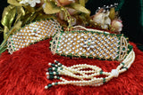 Indian Jewellery from Meira Jewellery:Rajasthani Jewellery,Fashionable Rajputi  Green Gold Plated Bajuband beaded with White Kundan and Moti Mala Loom