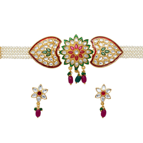 Stylish Kundan Work pink and green color Pearl Choker Set Multicolor