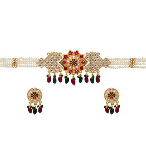 Designer Kundan work pink color Pearl Choker Set Multicolor