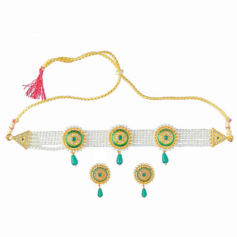 Royal Rajputi Moti Choker Chik Set