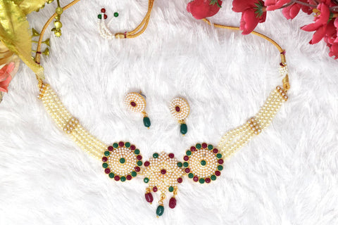 Trendy Rajputi Multy Color stone and White Moti Choker Set