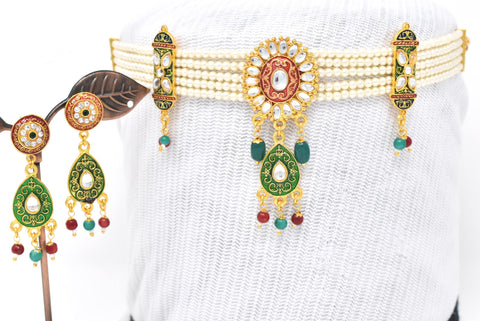 Attractive Rajputi multy color Meenakari Work Choker Set