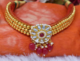 Indian Jewellery from Meira Jewellery:Rajasthani Jewellery,Rajputi Traditional Rose Color Choker, Kanthi Combo Set