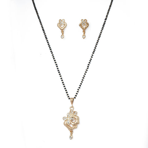 Rose gold plated fancy Mangalsutra with black beads