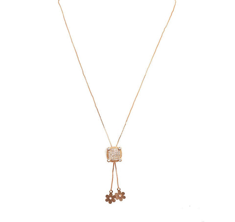 Fashionable Rose Gold Neckwear studded with American Diamond.