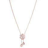 Attractive Rose Gold Filigree design white stone Neckwear