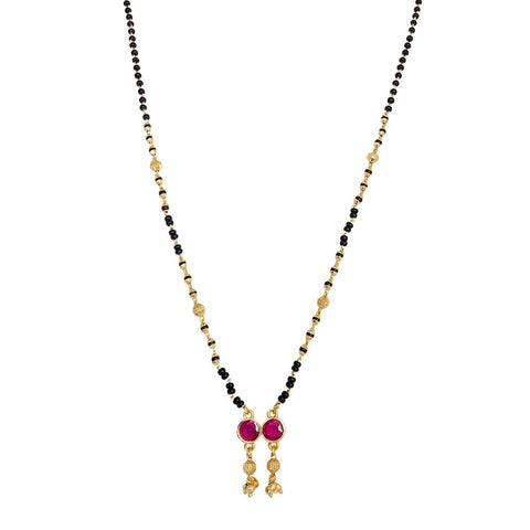Fancy Gold Plated Delicate pink Mangalsutra
