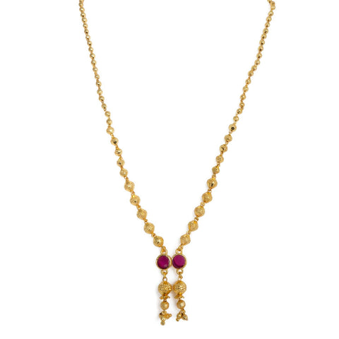 Latest Gold Plated Tassel Design pink color pendant Neckwear.