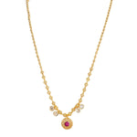 Designer Gold Plated Round shape pink color pendant Neckwear.