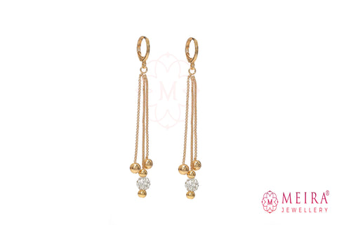Indian Jewellery from Meira Jewellery:Earrings,Rose Gold Plated Drop Earring with AD Studded Ball