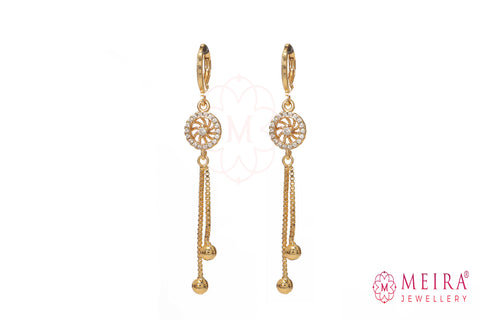 Indian Jewellery from Meira Jewellery:Earrings,Rose Gold Plated AD Studded wheel design Drop Earring