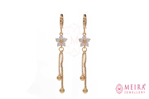 Rose Gold Plated CZ Studded FLoral design Drop Earring