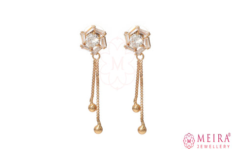 Indian Jewellery from Meira Jewellery:Earrings,Rose Gold Plated Rose design CZ studded Dangle Earring