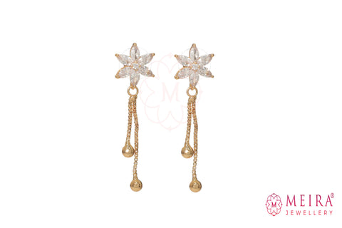Indian Jewellery from Meira Jewellery:Earrings,Rose Gold Plated Floral design CZ studded Dangle Earring