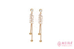 Rose Gold Plated Leaf design Glass stone  studded Dangle Earring