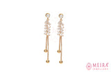 Indian Jewellery from Meira Jewellery:Earrings,Rose Gold Plated Leaf design Glass stone  studded Dangle Earring
