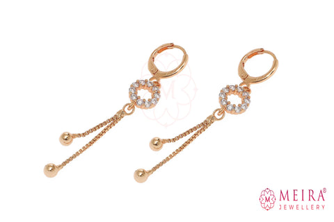 Rose Gold Plated AD Studded Circular design Drop Earring