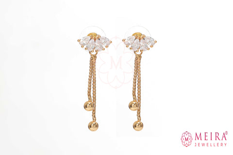 Rose Gold Plated CZ Studded Drop Earring