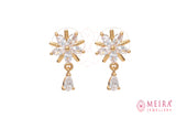 Indian Jewellery from Meira Jewellery:Earrings,Rose Gold Plated Floral design CZ studded Stud Earring with pearl drop