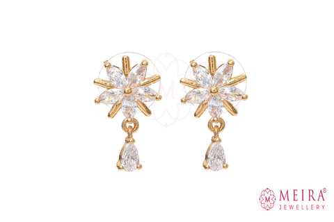 Rose Gold Plated Floral design CZ studded Stud Earring with pearl drop